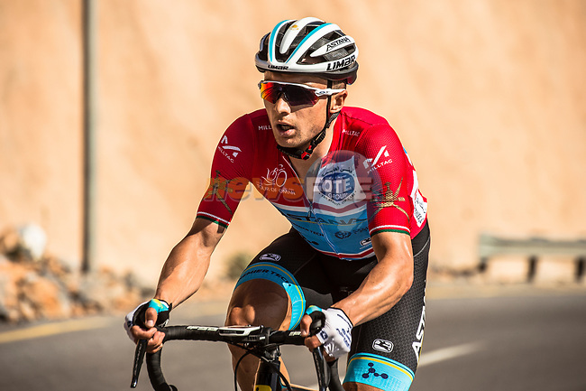 Race leader Alexey Lutsenko (KAZ) Astana Pro Team on his way to win Stage 5 his 3rd stage win of the 10th Tour of Oman 2019, running 152km from Samayil to Jabal Al Akhdhar (Green Mountain), Oman. 20th February 2019.<br /> Picture: ASO/Kåre Dehlie Thorstad | Cyclefile<br /> All photos usage must carry mandatory copyright credit (© Cyclefile | ASO/Kåre Dehlie Thorstad)