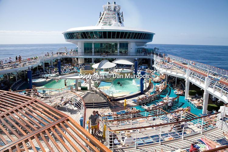 "The upper deck of the Royal Caribbean cruise ship ""Explorer of the Seas""."