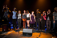 12 francophone artists  :<br /> Tommy Moreau (Gaspesie), Marjorie Fiset (Quebec) ,Sylvia Beaudry (Québec), Janie Renee (Ontario), Raphaël Butler (Nouveau-Brunswick), Wolanyo (Ontario), Abel Maxwell (Ontario), Rayannah (Manitoba), Javier Zubillaga (Uruguay), Kebert Bastien (Haïti), Pierre Yves Serre (France)  Liz Van Deuq (France).<br /> attend the  Festival en Chanson of Petite-Vallee in Gaspesia on June 27, 2014<br /> <br /> Photo : Agence Quebec Presse  - Frederic Seguin