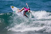 Huntington Beach, CA - Saturday August 4, 2018: Tatiana Weston-Webb in action during a World Surf League (WSL) World Championship Tour (WCT) Round 3 heat at the 2018 Vans U.S. Open of Surfing on South side of the Huntington Beach pier.
