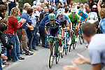 Esteban Chaves (COL) Orica-Bike Exchange climbs during the Il Lombardia NamedSport 2016 cycle race, running 241 km from Como to Bergamo, Italy. 1st October 2016.<br /> Picture: Bettini Photo| Newsfile<br /> <br /> <br /> All photos usage must carry mandatory copyright credit (© Newsfile | Bettini Photo)