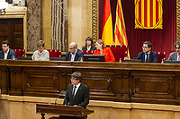 Catalan president Carles Puigdemont makes a speech at Catalan Parlament to declare and then postpone the Independence of Catalunya. Catalonia. In Barcelona on October 10, 2017.