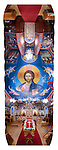 A Byzantine-style Pantocrator of Jesus Christ looms over iconographer Miloje Milinkovic's icons and frescos painted on the wall of historic St. Sava Orthodox Church, Jackson, Calif...**panorama assembled from multiple images in Photoshop.