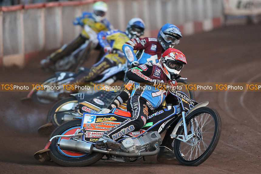 Heat 3: Peter Karlsson (red), Kim Nilsson (blue), Simon Gustafsson (white) and Cameron Woodward - Lakeside Hammers vs Eastbourne Eagles - Sky Sports Elite League Speedway at Arena Essex Raceway, Purfleet - 17/08/12 - MANDATORY CREDIT: Gavin Ellis/TGSPHOTO - Self billing applies where appropriate - 0845 094 6026 - contact@tgsphoto.co.uk - NO UNPAID USE.