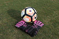 Cary, North Carolina  - Saturday September 09, 2017: Pink goalkeeper gloves, for the Courage's Breast Cancer Awareness match, prior to a regular season National Women's Soccer League (NWSL) match between the North Carolina Courage and the Houston Dash at Sahlen's Stadium at WakeMed Soccer Park. The Courage won the game 1-0.