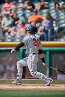 Preston Tucker (20) of the Fresno Grizzlies bats against the Salt Lake Bees at Smith's Ballpark on September 4, 2017 in Salt Lake City, Utah. Fresno defeated Salt Lake 9-7. (Stephen Smith/Four Seam Images)