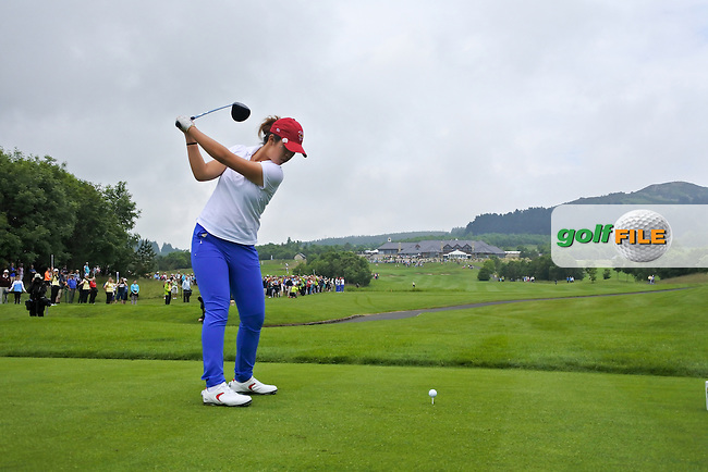 Andrea Lee on the 18th tee during the Saturday morning foursomes at the 2016 Curtis cup from Dun Laoghaire Golf Club, Ballyman Rd, Enniskerry, Co. Wicklow, Ireland. 11/06/2016.<br /> Picture Fran Caffrey / Golffile.ie<br /> <br /> All photo usage must carry mandatory copyright credit (&copy; Golffile | Fran Caffrey)