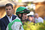 July 18, 2015: Fortune Pearl's trainer, Graham Motion, and jockey, Trevor McCarthy, wait for the call of riders up before the Delaware Handicap. Sheer Drama, Joe Bravo up, wins the Grade I Delaware Handicap, one and 1/4 miles for fillies and mares 3 and upward at Delaware Park in Stanton DE.  Trainer is David Fawkes, owner is Harold L. Queen. Joan Fairman Kanes/ESW/CSM