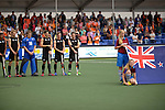 The Hague, Netherlands, June 03: Team of New Zealand line up prior to the match during the national anthem during the field hockey group match (Men - Group B) between South Africa and the Black Sticks of New Zealand on June 3, 2014 during the World Cup 2014 at GreenFields Stadium in The Hague, Netherlands. Final score 0:5 (0:3) (Photo by Dirk Markgraf / www.265-images.com) *** Local caption ***