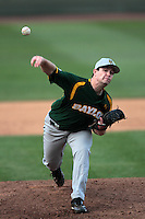 Joey Hainsfurther #1 of the Baylor Bears pitches against the UCLA Bruins at Jackie Robinson Stadium on February 25, 2012 in Los Angeles,California. UCLA defeated Baylor 9-3.(Larry Goren/Four Seam Images)
