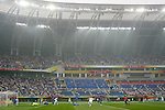 07 August 2008: United States players begin to celebrate as a shot from Stuart Holden (8th from left, arms raised) slowly rolls across the goal line.  The men's Olympic team of the United States defeated the men's Olympic soccer team of Japan 1-0 at Tianjin Olympic Center Stadium in Tianjin, China in a Group B round-robin match in the Men's Olympic Football competition.