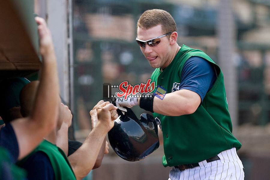 Charlotte Knights third baseman Josh Fields is congratulated by his teammates after smacking his 17th home run of the season versus the Indianapolis Indians at Knights Stadium in Fort Mill, SC, Sunday, August 13, 2006.