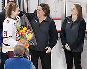 Lexi Bender (BC - 21), Courtney Kennedy (BC - Associate Head Coach), Katie Crowley (BC - Head Coach) - The Boston College Eagles defeated the visiting Providence College Friars 7-1 on Friday, February 19, 2016, at Kelley Rink in Conte Forum in Boston, Massachusetts.
