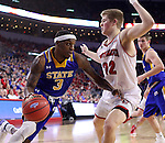 SIOUX FALLS, SD: MARCH 6: Chris Howell #3 of South Dakota State drives on Tyler Peterson #22 of South Dakota during the Summit League Basketball Championship on March 6, 2017 at the Denny Sanford Premier Center in Sioux Falls, SD. (Photo by Dick Carlson/Inertia)