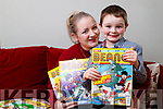 Lisa Curran with her son Christopher who will be featured in a comic strip in the Beano.