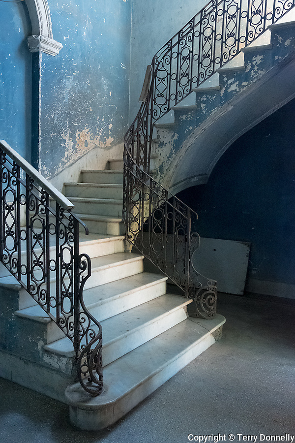 Havana, Cuba: interior stairway in the Vedado neighborhood