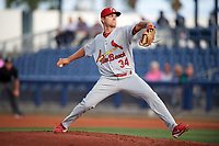 Palm Beach Cardinals starting pitcher Connor Jones (34) delivers a pitch during a game against the Charlotte Stone Crabs on April 11, 2017 at Charlotte Sports Park in Port Charlotte, Florida.  Palm Beach defeated Charlotte 12-6.  (Mike Janes/Four Seam Images)