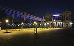 Nederland, Utrecht, 21-03-2011, Lasershow van de Uithof ( universiteits centrum/ campus naar de Dom in de binnenstad van Utrecht nav het 375 jarig bestaan van de Universiteit Utrecht..photo Michael Kooren/ HH.laser over spoorweg museum..