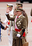 Juan Carlos I King of Spain and Pircess Letizia greets the soldiers during a military parade marking the Armed Forces Day on June 2, 2012 in Valladolid.(ALTERPHOTOS/Acero)