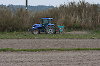 A tractor used for spraying freshly decontaminated fields near a de-contamination centre near Nahara, Fukushima, Japan. Tuesday April 30th 2013 The Japanese government has decided to remove the topsoil and vegetation from the areas affected by radiation after the disaster at Fukushima Daichi nuclear plant on March 11th 2011