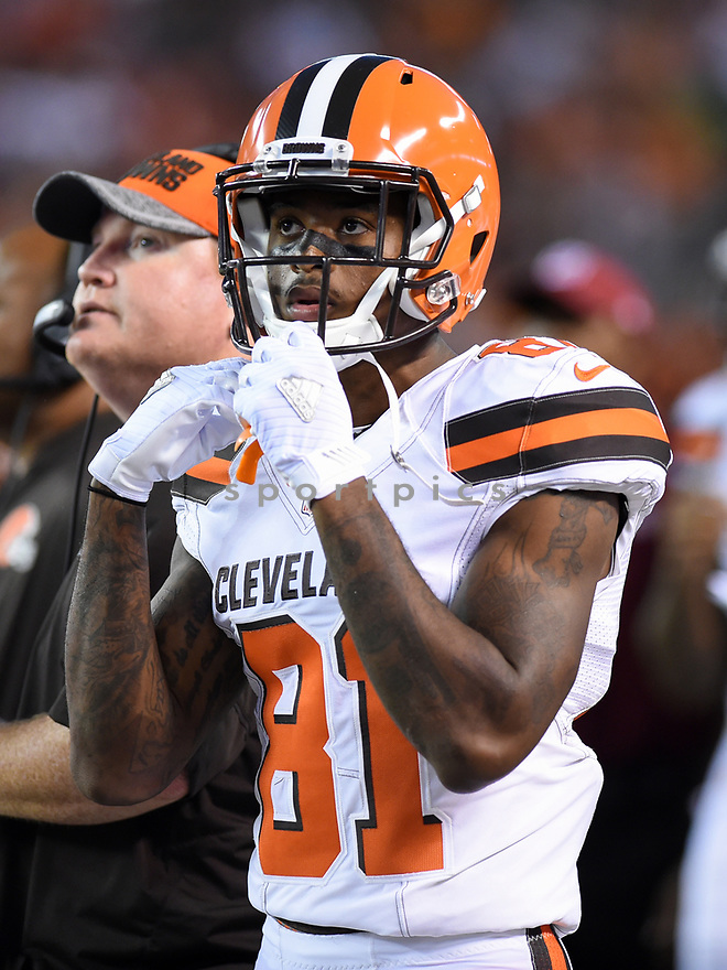 CLEVELAND, OH - AUGUST 18, 2016: Wide receiver Rashard Higgins #81 of the Cleveland Browns watches the action from the sideline in the first quarter of a preseason game on August 18, 2016 against the Atlanta Falcons at FirstEnergy Stadium in Cleveland, Ohio. Atlanta won 24-13. (Photo by: 2016 Nick Cammett/Diamond Images) *** Local Caption *** Rashard Higgins