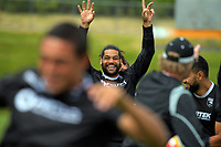 Adam Blair celebrates during the New Zealand Kiwis Rugby League World Cup training session at Porirua Park in Wellington, New Zealand on Tuesday, 14 November 2017. Photo: Dave Lintott / lintottphoto.co.nz