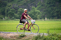 A Tourist traveling by Bike through the Country side in Ninh Ninh, North Vietnam
