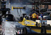 Feb. 22, 2013; Chandler, AZ, USA; NHRA top fuel dragster driver Morgan Lucas during qualifying for the Arizona Nationals at Firebird International Raceway. Mandatory Credit: Mark J. Rebilas-