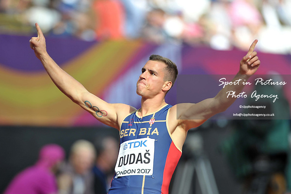 Mihail DUDAŠ (SRB) in the mens decathlon 100m celebrates. IAAF world athletics championships. London Olympic stadium. Queen Elizabeth Olympic park. Stratford. London. UK. 11/08/2017. ~ MANDATORY CREDIT Garry Bowden/SIPPA - NO UNAUTHORISED USE - +44 7837 394578