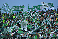 MEDELLÍN-COLOMBIA, 27-04-2019: Hinchas de Atlético Nacional durante partido de la fecha 18 entre Atlético Nacional y América de Cali, por la Liga Águila I 2019, jugado en el estadio Atanasio Girardot de la ciudad de Medellín. / Fans of Atletico Nacional during a match of the 18th date between Atletico Nacional and America de Cali, for the Aguila Leguaje I 2019 played at the Atanasio Girardot Stadium in Medellin city. / Photo: VizzorImage / León Monsalve / Cont.