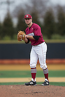 Harvard Crimson starting pitcher Nick Gruener (17) in action against the Wake Forest Demon Deacons at David F. Couch Ballpark on March 5, 2016 in Winston-Salem, North Carolina.  The Crimson defeated the Demon Deacons 6-3.  (Brian Westerholt/Four Seam Images)