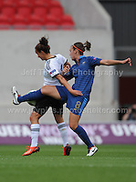 Clarisse Le Bihan battles with Lina Magull of Germany during the UEFA Womens U19 Semi-Final at Parc y Scarlets Wednesday 28th August 2013. All images are the copyright of Jeff Thomas Photography-www.jaypics.photoshelter.com-07837 386244-Any use of images must be authorised by the copyright owner.