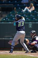 Jonathan Laureano (23) of the Lynchburg Hillcats at bat against the Winston-Salem Rayados at BB&T Ballpark on June 23, 2019 in Winston-Salem, North Carolina. The Hillcats defeated the Rayados 12-9 in 11 innings. (Brian Westerholt/Four Seam Images)