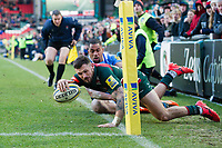 Adam Thompstone of Leicester Tigers is stopped on his way to the try-line by Joe Cokanasiga of London Irish. Aviva Premiership match, between Leicester Tigers and London Irish on January 6, 2018 at Welford Road in Leicester, England. Photo by: Patrick Khachfe / JMP