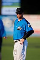 Hudson Valley Renegades coach Sean Smedley (22) before a game against the Tri-City ValleyCats on August 24, 2018 at Dutchess Stadium in Wappingers Falls, New York.  Hudson Valley defeated Tri-City 4-0.  (Mike Janes/Four Seam Images)