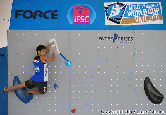June 9, 2017 - Vail, Colorado, U.S. - Japan's, Kaito Watanabe #40,, tops his first climbing problem in the IFSC Climbing World Cup during the GoPro Mountain Games, Vail, Colorado.  Adventure athletes from around the world meet in Vail, Colorado, June 8-11, for America's largest celebration of mountain sports, music, and lifestyle.