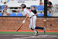 Danville Braves first baseman Griffin Benson (16) swings at a pitch during a game against the  Johnson City Cardinals at TVA Credit Union Ballpark on July 23, 2017 in Johnson City, Tennessee. The Cardinals defeated the Braves 8-5. (Tony Farlow/Four Seam Images)