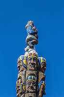 The Codger Pole is a chainsaw-carved monument by master carver Jonathan LaBenne. It is located on Main Street and commemorates a 1988 rematch, 50 years after the original 1938 game, between archrival football teams from Colfax High School and St. John. At 65 feet (20 m) tall, it is the largest sculpture of its type in the world, and consists of portraits, carved into five upended red cedar logs, of the 51 players involved. The players are shown in old age but are wearing the football uniforms of the thirties. The Codger Pole was recently renovated as of May 2016. It is located at the intersection of Main and Rock Streets.