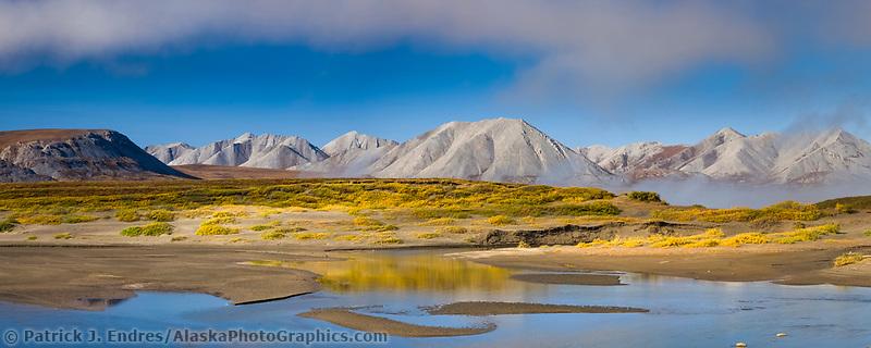 Panorama of the Atigun River and the Endicott Mountains, Brooks Range, Arctic, Alaska.