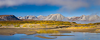 Panorama of the Atigun River and the Endicott mountains, Brooks Range, Arctic, Alaska.