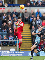 Jack Payne of Leyton Orient clears the ball during the Sky Bet League 2 match between Wycombe Wanderers and Leyton Orient at Adams Park, High Wycombe, England on 23 January 2016. Photo by Andy Rowland / PRiME Media Images.