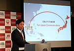 October 17, 2016, Tokyo, Japan -  Fun Japan Communications president Daisuke Fujii speaks at a press conference to form a new company Fun Japan Communications in Tokyo on Monday, October 17, 2016. Fun Japan Communications is the digital marketing company for tourists mainly target of Taiwan and ASEAN countries.   (Photo by Yoshio Tsunoda/AFLO) LWX -ytd-