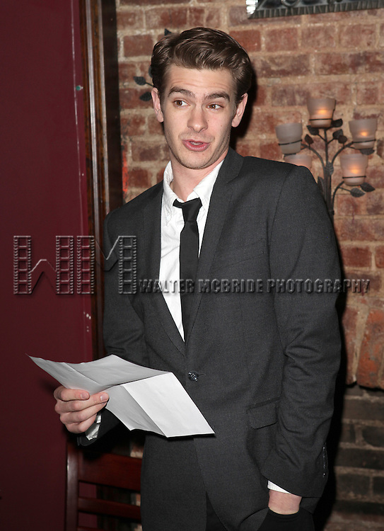Andrew Garfield presents award to Mike Nichols.at the New York Drama Critics' Circle Awards at Angus McIndoe in New York City on 5/14/2012.