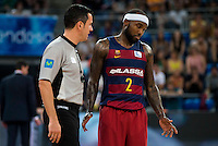 FC Barcelona Lassa player Tyrese Rice talking with the referee during the final of Supercopa of Liga Endesa Madrid. September 24, Spain. 2016. (ALTERPHOTOS/BorjaB.Hojas) NORTEPHOTO.COM