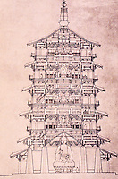 China:  Chinese Architecture--Cross-section, wooden pagoda.