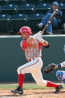 Alfredo Rodriguez #2 of the Maryland Terrapins bats during a game against the UCLA Bruins at Jackie Robinson Stadium on February 19, 2012 in Los Angeles,California. Maryland defeated UCLA 5-1.(Larry Goren/Four Seam Images)