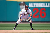 Rochester Red Wings shortstop Wilfredo Tovar (4) during a game against the Pawtucket Red Sox on June 29, 2016 at Frontier Field in Rochester, New York.  Pawtucket defeated Rochester 3-2.  (Mike Janes/Four Seam Images)