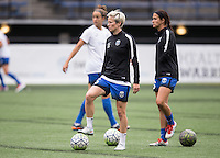 Seattle, WA - Saturday Aug. 27, 2016: Megan Rapinoe, Carson Pickett prior to a regular season National Women's Soccer League (NWSL) match between the Seattle Reign FC and the Portland Thorns FC at Memorial Stadium.