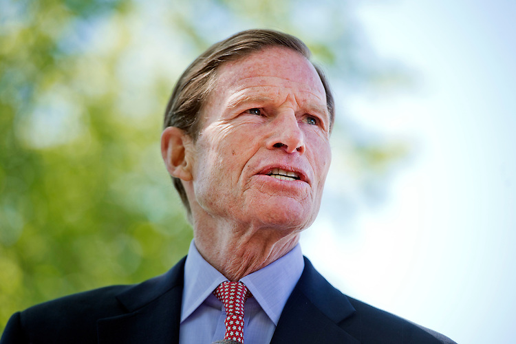 "UNITED STATES - APRIL 20: Sen. Richard Blumenthal, D-Conn., attends a news conference to announce ""The Visa Transparency Anti-Trafficking Act,"" at the Senate Swamp on the East Front of the Capitol, April 20, 2016. The event featured testimony from Shandra Woworuntu, a survivor of sex-trafficking. (Photo By Tom Williams/CQ Roll Call)"