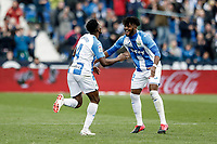 2nd February 2020; Estadio Municipal de Butarque, Madrid, Spain; La Liga Football, Club Deportivo Leganes versus Real Sociedad; Kenneth Omeruo (CD Leganes)  celebrates his goal which made it 1-1 in the 49th minute
